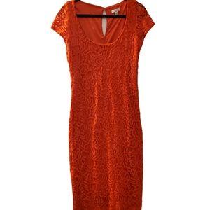 Eva Mendes Red Orange Lace Back Zip Dress 12